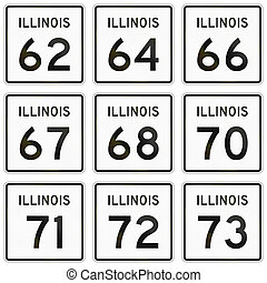 Collection of Illinois Route shields used in the United...