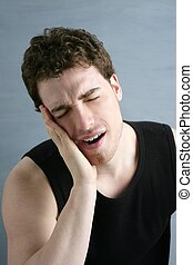 toothache headache pain gesture young man