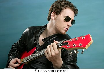 guitar rock star man sunglasses leather jacket