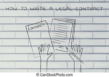 hands with pen and signed docs, how to write a legal contract