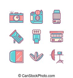 Photography sings set Thin line art icons Flat style...