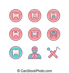 Dental sings set. Thin line art icons. Flat style...