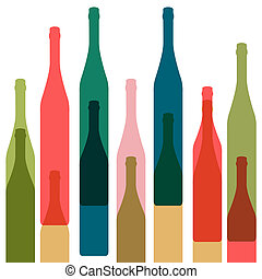 Bottles vector color - Bottles color vectorWine bar menu...