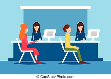 Bank Office Interior Client Man Woman Sit Desk Banker Worker...