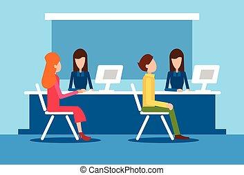 Bank Office Interior Client Man Woman Sit Desk Banker Worker...