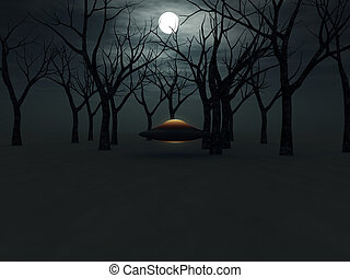 UFO In The Forest  - A UFO hovering in a forest.