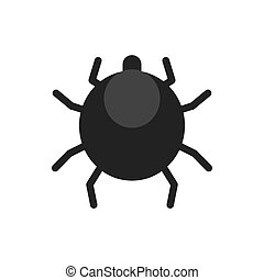 scary black mite flat icon - scary black mite flat vector...