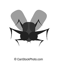 scary black fly flat icon - scary black fly flat vector icon...