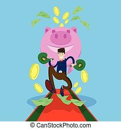 Rich Business Man Hold Money Dollar Sack Coin Piggy Bank