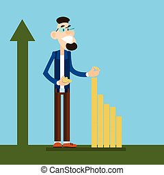 Rich Business Man Build Financial Graph With Coin, Arrow Up Wealth Growth Concept