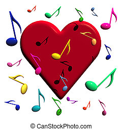 Love Music - Illustration of a heart with lots of musical...