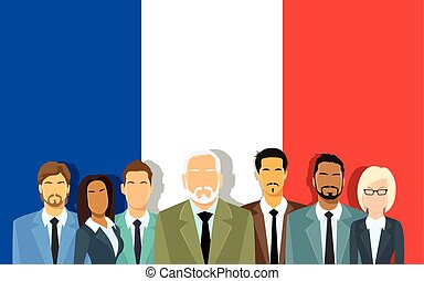Senior Businessmen Group of Business People Team Over France...