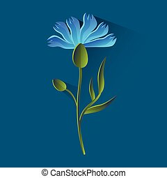 Cornflower Isolated, Bluet Over Blue Background Flat Vector...