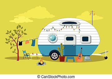 Little vintage camper - Cartoon travelling scene with a...