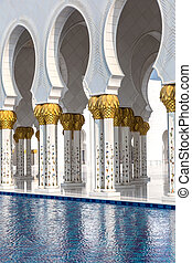 Sheikh Zayed Grand Mosque in Abu Dhabi in a summer day,...