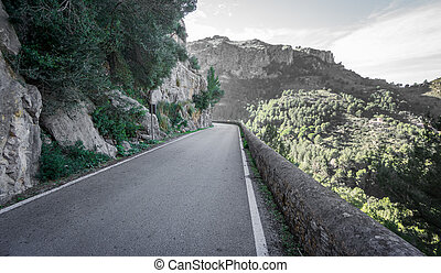 Mountain road with blurred background - Wide angle view...