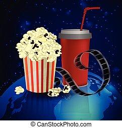 Popcorn and movie film - Popcorn and movie film on dark...