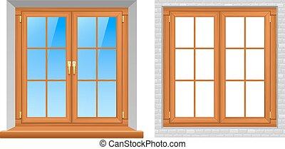 Wooden Windows Indoor Outdoor Realistic Icons - Beautiful...