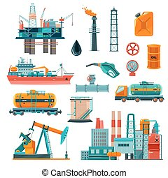 Oil Industry Cartoon Icons Set - Set of oil industry...