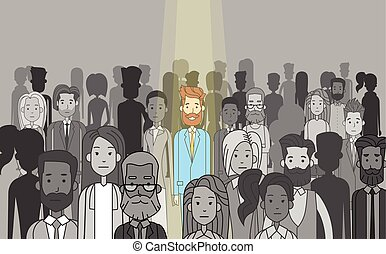 Businessman Leader Stand Out From Crowd Individual