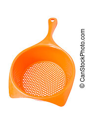 Colander - Orange colander isolated on a white background