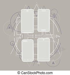 Smart Cell Phone Sketch Line Telephone Abstract Triangular