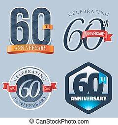 60th Anniversary Logo - A Set of Symbols Representing a 60...