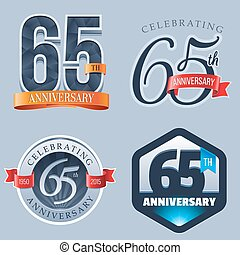 65th Anniversary Logo - A Set of Symbols Representing a 65...