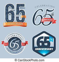 65th Anniversary Logo - A Set of Symbols Representing a 65...