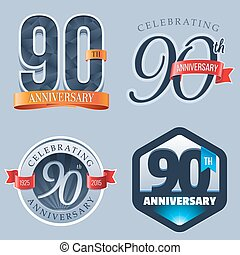 90th Anniversary Logo - A Set of Symbols Representing a 90...