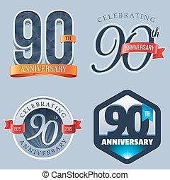 90th Anniversary Logo - A Set of Symbols Representing a 90...
