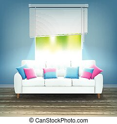 Interior Sofa Neon Light Realistic Illustration