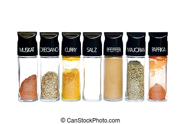 Spices 6 - Spices - nutmeg oregano curry salt pepper...