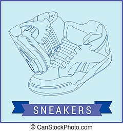 Vector line art sneakers illustration