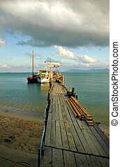 Pier 1 - Wooden pier and anchoring ships, Koh Samui,...