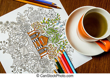 Anti-stress coloring book in the drawing process. Woman...