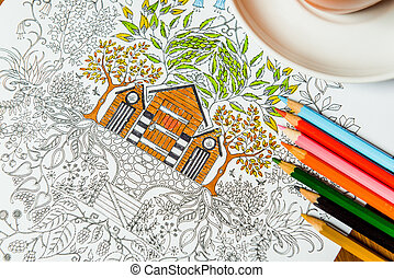 Anti-stress coloring book in the drawing process Woman...