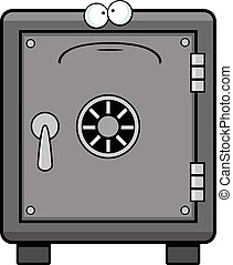 Cartoon Safe Sad - Cartoon illustration of a safe with a sad...