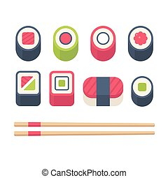 Isometric sushi set - Flat sushi icons set. Japanese food,...
