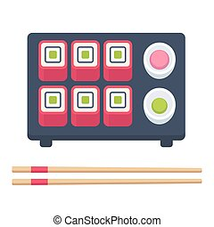 Isometric sushi set - Japanese food set, sushi rolls with...