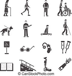 Disabled Handicapped People Black Icons Set - Disabled and...