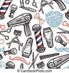 Barber Shop Attributes Doodle Seamless Pattern - Barber shop...