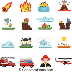 Natural Disaster Flat Icons Collection - Natural disasters...