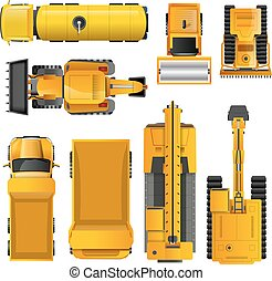 Construction Machines Top View - Set of yellow realistic...