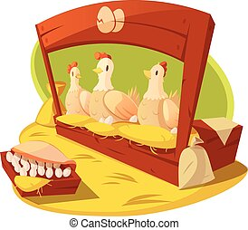 Hen And Eggs Cartoon Concept - Hen and eggs on a farm with...