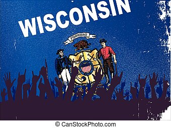 Wisconsin State Flag with Audience