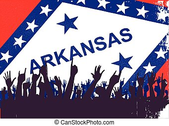 Arkansas State Flag with Audience