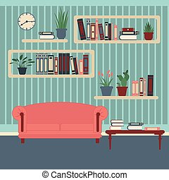 Living Room Interior Modern Home Room with Book Shelves and...