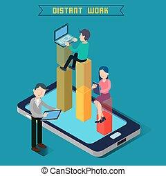 Distant Work Team Work Modern Technology Remote Work...
