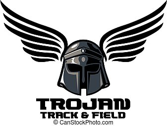 trojan track and field team design with winged helmet for...